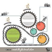 Elements of infographics bicycle sprocket, timeline. — Stockvektor