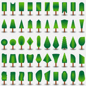 Trees icon flat set for games — Stockvektor