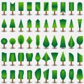 Trees icon flat set for games — 图库矢量图片