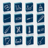 Health care and medicine icon set with typography. Vector doodle illustrations. — Stock Vector