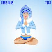 Snow Maiden in Padmasana posture — Stock Vector