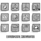 Pollution set of vector icons of thumbnails — Stock Vector