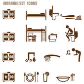 Morning person icon set — Stockvektor