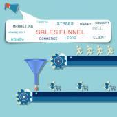Sales funnel flat illustration, vector graphics. — Stock Vector