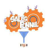 Sales funnel flat illustration, vector graphics. — Stock Vector
