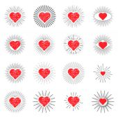 Set red heart sunburst templates for labels — Stock Vector