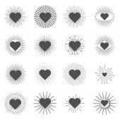 Set heart sunburst templates for labels — Stock Vector