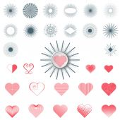 Set elements labels heart and rays — Stockvector