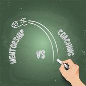 3d hand writing mentorship vs coaching — Stock Vector