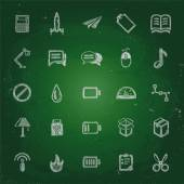 Iconos de la tiza en los bocetos de blackboard para el sitio — Vector de stock