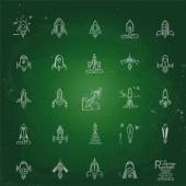 Rocket icons, set sketches, doodles — Stock Vector