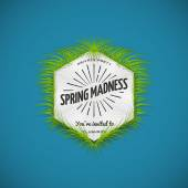 Festival spring madness realistic badge — Stock Vector