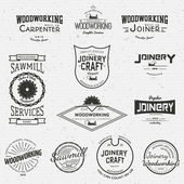 Woodworking badges logos and labels — Stock Vector