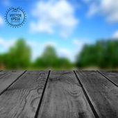 Mesa de madeira na natureza borrão — Vetor de Stock