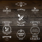 Handmade badges logos and labels for any use — Stock Vector