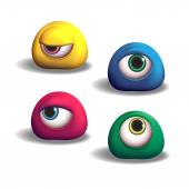 3D monsters eyes — Stock Vector