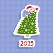 2015. pecore e albero di natale — Vettoriale Stock