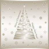Gold-Christmas tree-snowflakes-Merry Christmas — Stock Vector