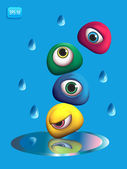 3D Monsters Eye - Rain — Stock Vector