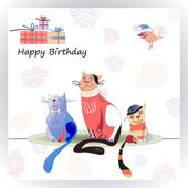 Happy Birthday card with cute cats — Cтоковый вектор