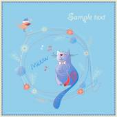 Greeting card with cute cat — Stock Vector