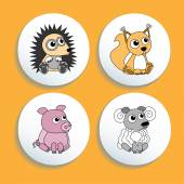 Set Of Buttons With Animals. — Stock Vector