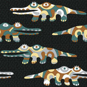 Seamless background with psychedelic crocodiles — 图库矢量图片