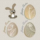 Easter set with rabbit and eggs — Stockvektor