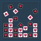 Tetris background with hearts — Stock Vector
