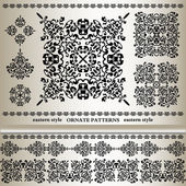 Set of ornate patterns in eastern style — 图库矢量图片
