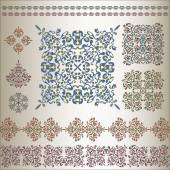Set of ornate patterns in eastern style — Vettoriale Stock