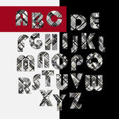 Alphabet, graphic, monochrome, black, white, ornament, vintage — Stockvector