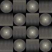 Black-and-white seamless pattern, squares, circles, vintage, ornament — Vetor de Stock