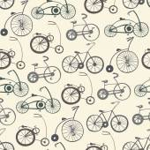 Seamless pattern with vintage bicycles — Vector de stock
