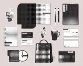 Corporate identity template with  black and white graphic pattern — Stock Vector