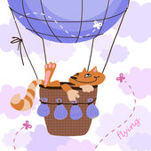 Cat flying on the air balloon — Stock Vector