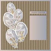 Easter, eggs, bunny, rabbit, flowers, knitting, willow, leaves — Stock Vector