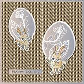 Easter, eggs, bunny, rabbit, flowers, knitting, leaves — Stock Vector