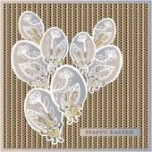 Easter, eggs, rabbit, flowers, knitting, willow — Stock Vector