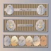 Easter banner, egg, bunny, knitting — Stock Vector