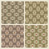 Set of four seamless geometric texture with a pattern of staggered — Stock Vector