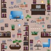 Seamless pattern with books and furniture — Stok Vektör