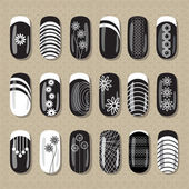 Nail design black and white — Stock Vector