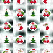 Seamless Christmas pattern with Santa Claus, Christmas trees and gifts on background p — Stock Vector