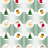 Seamless Christmas Pattern With Christmas Trees, Bells, Candles And Gifts On Background Pixel — Stock Vector