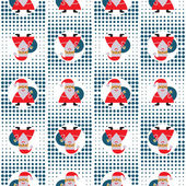 Seamless New Year's Abstract Pattern With Santa Claus On A Background Pixel — Stock Vector