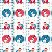 Seamless Christmas Pattern With Santa Claus And Reindeer At The Pixel Background — Stock Vector