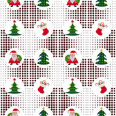 Seamless Christmas pattern with Santa Claus and Christmas trees on background pixel — Stock Vector