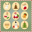 Christmas set Santa Claus, reindeer, stockings, gifts, candles, Christmas tree, snowman, candy — Stock Vector #78889694