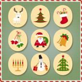 Noël père Noël, renne, bas, cadeaux, bougies, arbre de Noël, bonhomme de neige, bonbons à la valeur — Vecteur
